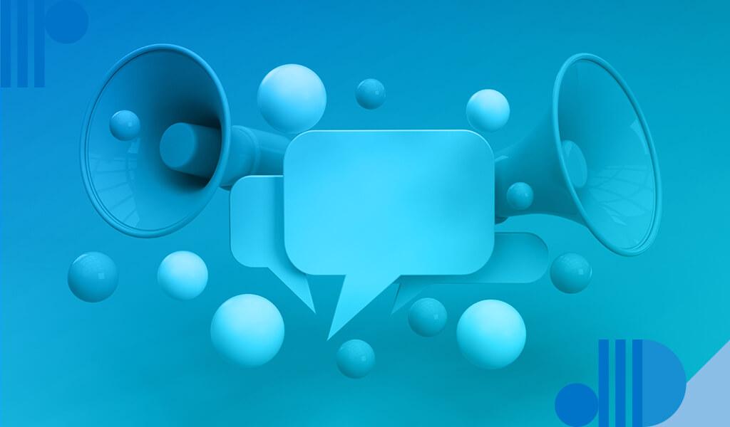 Imagem apresenta megafones e balões de fala para ilustrar o tema