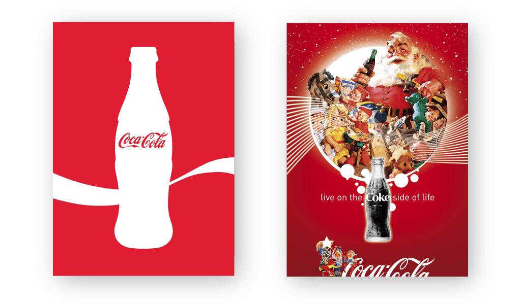 A imagem mostra duas peças gráficas diferentes da Coca-Cola: uma minimalista e outra com muito mais elementos