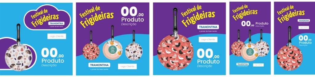 A imagem mostra quatro templates diferentes para o Festival das Panelas Tramontina, disponibilizados para os colaboradores por meio do Deskfy